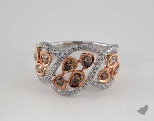 14K White & Rose Gold 1.09ctw Champagne & Pave Diamond Ring