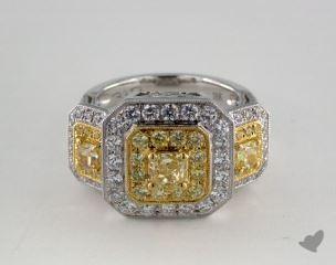 18K Two Tone Gold 2.4ctw Three Stone Cushion Diamond Ring
