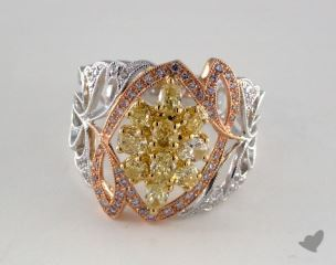 18k 3 Tone Gold 1.51ctw Yellow & Pink Ribbon Diamond Ring