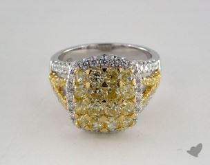 18K White Gold 2.88ctw Yellow & White Pave Diamond Ring