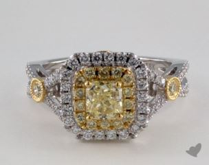 18K Two Tone Gold 1.39ctw Radiant Yellow & Pave Diamond Ring