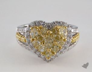 18K White & Yellow 2.07ctw Heart Yellow & White Diamond Ring