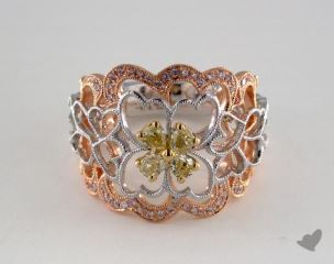 18K Three Tone .57ctw Heart Design Diamond Ring