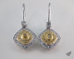 18k White Yellow and Rose Gold - 0.32tcw  - Oval - Yellow Diamond Earrings
