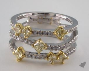 18k Two Tone Gold 1.02ctw Radiant Yellow & Pave Diamond Ring