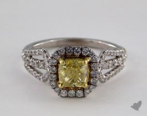 18k Two Tone Gold 1.61ctw Radiant Yellow & Pave Diamond Ring
