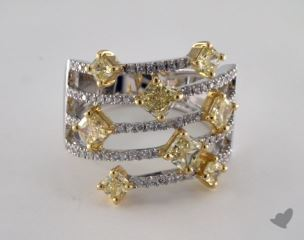 18k White Gold 2.41ctw Yellow & White Pave Diamond Ring