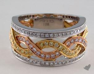 18K White, Yellow, and Rose Gold Interlocking Ribbon Ring