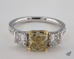 18k Two Tone Gold 3ctw 3-Stone Yellow & White Diamond Ring