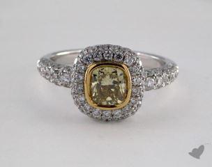 18K White & Yellow 2.23ctw Cushion Yellow & Pave Diamond Ring