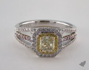 18k White Gold 1.28ctw Radiant Yellow & Pink Diamond Ring