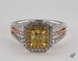 18k Three Tone 1.77ctw Cushion Yellow Diamond Ring