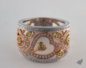 18k Three Tone Gold 1.13ctw Heart Yellow & Pave Diamond Ring