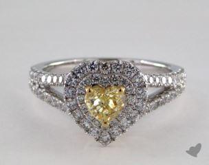 18K White & Yellow Gold 1.26ctw Heart Yellow Diamond Ring