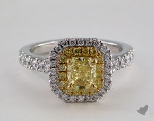 18k Two Tone Gold 1.74ctw Radiant Yellow & Pave Diamond Ring
