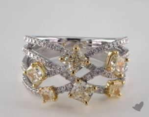18K Two Tone Gold 2.18ctw Radiant Yellow & White Diamond Ring