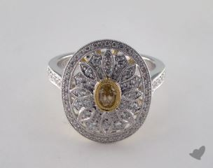 18K 2 Tone Gold .73ctw Vintage Yellow & Pave Diamond Ring