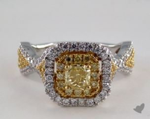 18K Two Tone Gold 1.73ctw Radiant Yellow & Pave Diamond Ring