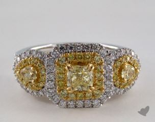18K White & Yellow 1.66ctw Radiant Yellow & Pave Diamond