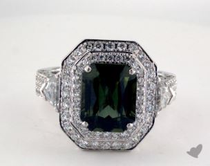 18K White Gold - 3.71ct  - Green