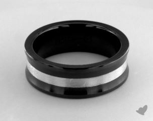 Ceramic 8mm Comfort-Fit Satin-Finished Concave Silver Inlay Design Ring