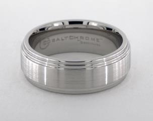 Cobalt chrome™ 8mm Comfort-Fit Satin-Finished Double Edge Design Ring