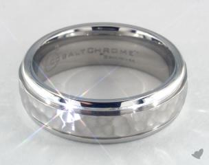 Cobalt chrome™ 7mm Comfort-Fit Hammered-Finished Design Ring