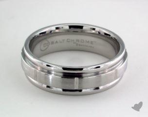 Cobalt chrome™ 7mm Comfort-Fit Satin-Finished Round Edge Design Ring