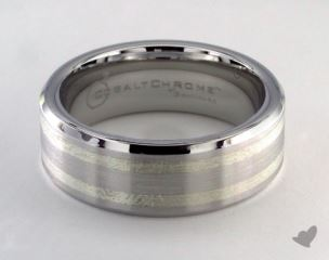 Cobalt chrome™- Silver 8mm Comfort-Fit Satin-Finished Parallel Silver Inlay Design Ring