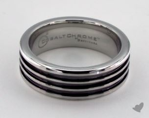 Cobalt chrome™ 7.5mm Comfort-Fit 3 Black Channel Design Ring