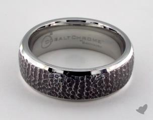 Cobalt chrome™ 7.5mm Comfort-Fit with Black Micro hammer Finish and High Polish Edges Design Ring