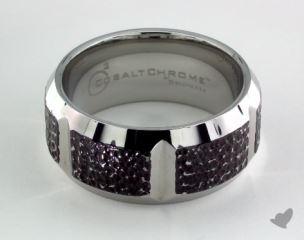 Cobalt chrome™ 10mm Comfort Fit Blackened Micro hammer Ring
