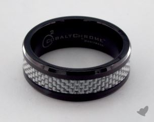 Cobalt chrome™ 8mm Comfort Fit Ring with White Carbon Fiber Inlay