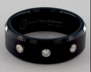 Blackened Cobalt chrome™ 8mm Comfort Fit Satin Centered 3 Stone Diamond Ring