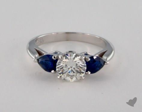 18K White Gold  Three Stone Engagement Ring