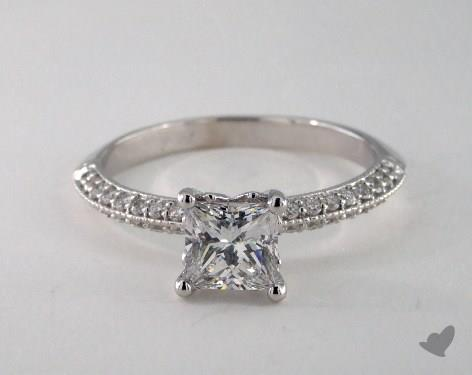 14K White Gold  Pave Engagement Ring