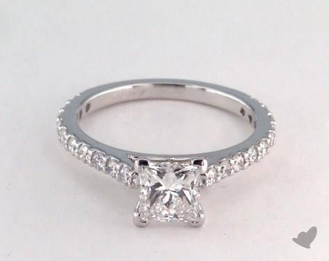 18K White Gold  Side stones Engagement Ring
