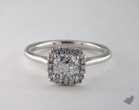 14K White Gold  Halo Engagement Ring