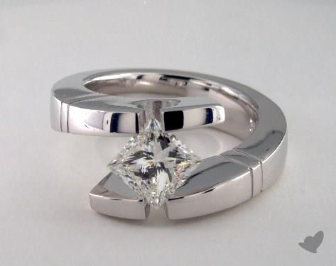 14K White Gold  Tension Engagement Ring