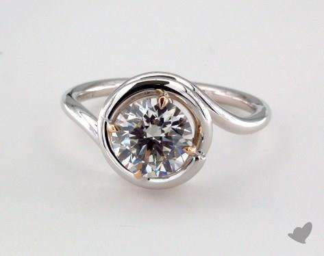18K White Gold  Mixed Metal Engagement Ring