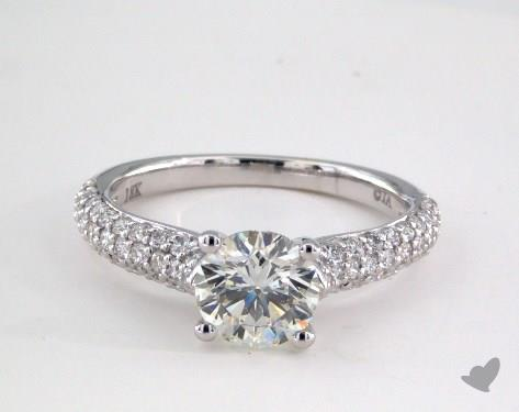18K White Gold  Pave Engagement Ring