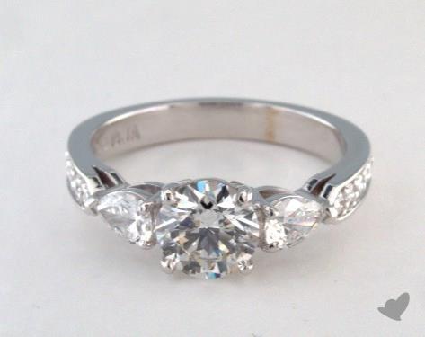 18K White Gold  Three Stone Engagement Ring