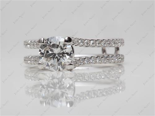 White Gold  Micropave Engagement Rings