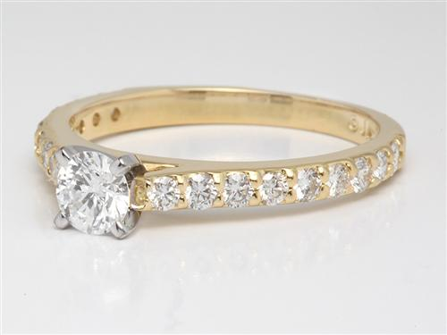 Gold  Engagement Ring With Side Stones