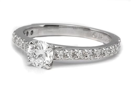 White Gold  Side Stone Engagement Rings