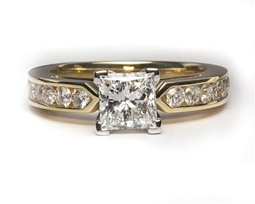 Gold  Princess Cut Engagement Rings With Side Stones