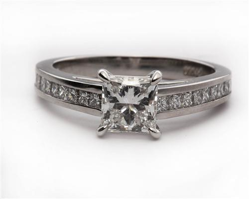 Platinum  Princess Cut Engagement Rings With Side Stones