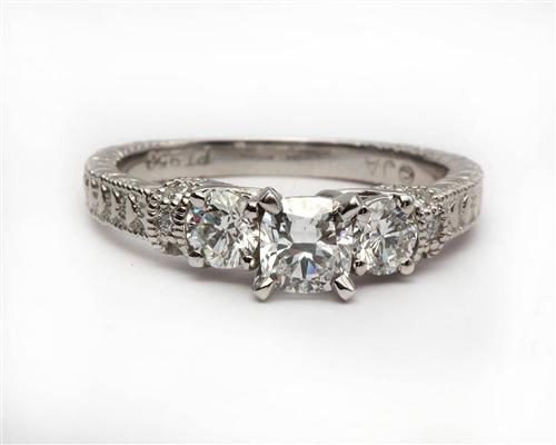 Platinum  Side Stone Engagement Ring