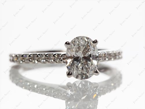 White Gold  Sidestone Engagement Ring