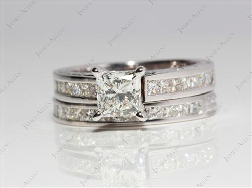 White Gold  Bridal Wedding Ring Sets